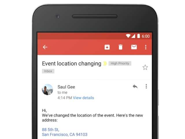 Gmail now converts addresses, contacts and phone numbers to links