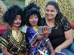 Kids pose for a selfie as they celebrate Dussehra