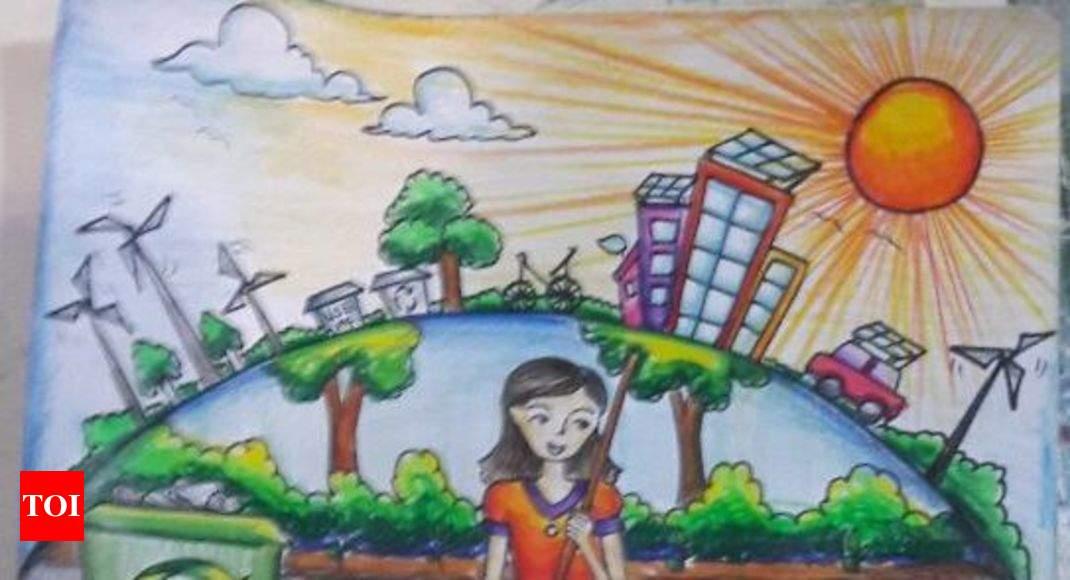swacchata hi seva  at 12  her art has gone on an envelope by postal dept