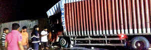 Two dead, two injured in E-way container collision