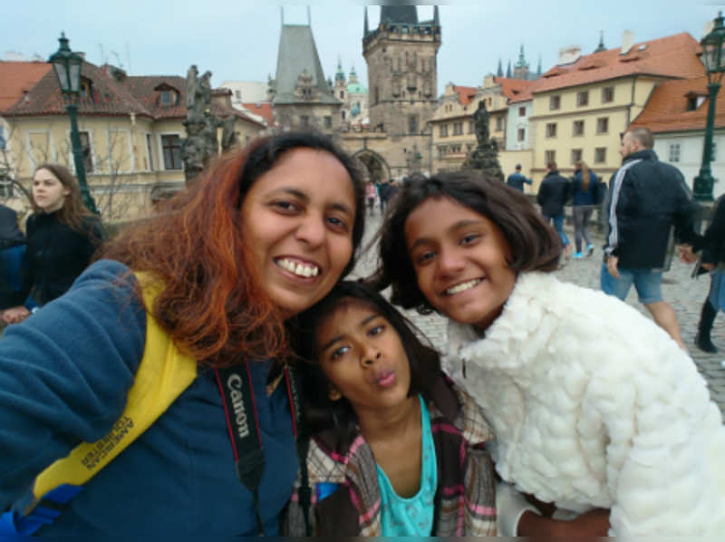 Mridula (left) with Chhavi (centre) and her niece