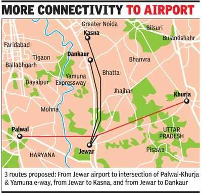 Three roads to connect Jewar airport site with NCR on cards
