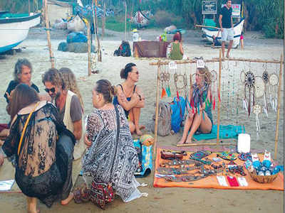 On Arambol beach, a market by the Russians | Goa News - Times of India