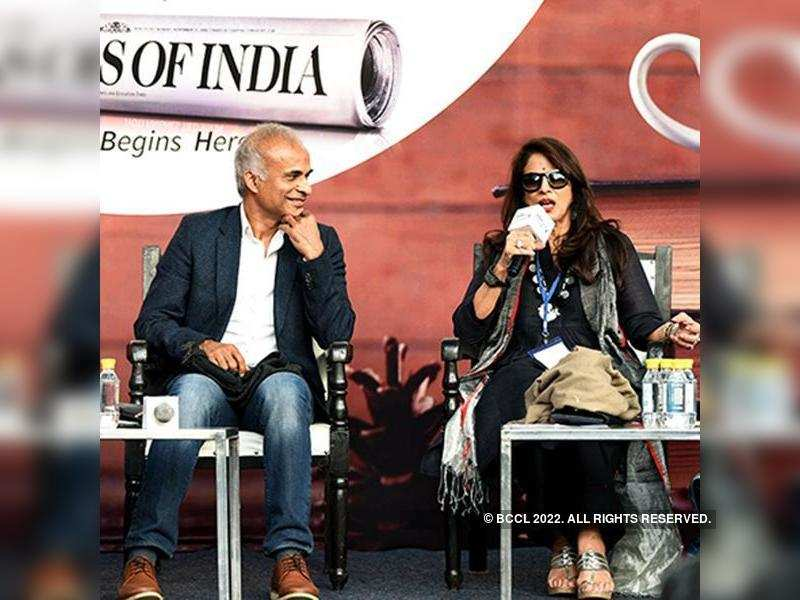Manu Joseph looks on as Shobhaa De speaks during the Write India session on Day 1 of Times Litfest Delhi 2017, held at the India Habitat Centre, in New Delhi, on November 25, 2017.