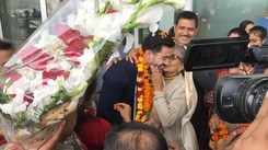 Jitesh Singh Deo receives a heroic welcome at his hometown in Lucknow