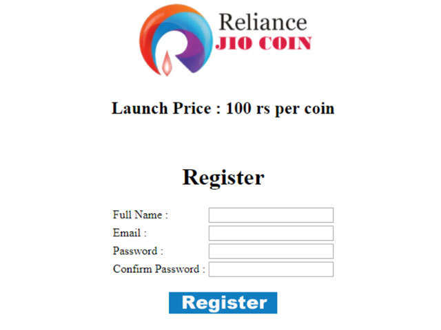 The website states that the Jio Coin will have a launch price of Rs 100 per coin.