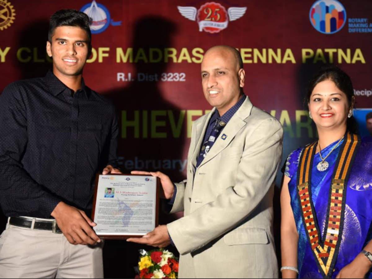 Washington Sundar Washington Sundar Receives Young Achiever Award Cricket News Times Of India