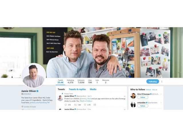 Oliver, who boasts a food and media empire that spans cookbooks, magazines, TV shows, restaurants and homeware, edges out fellow British chef and media mogul Gordon Ramsay, who trails behind his younger compatriot at 6.54 million followers.