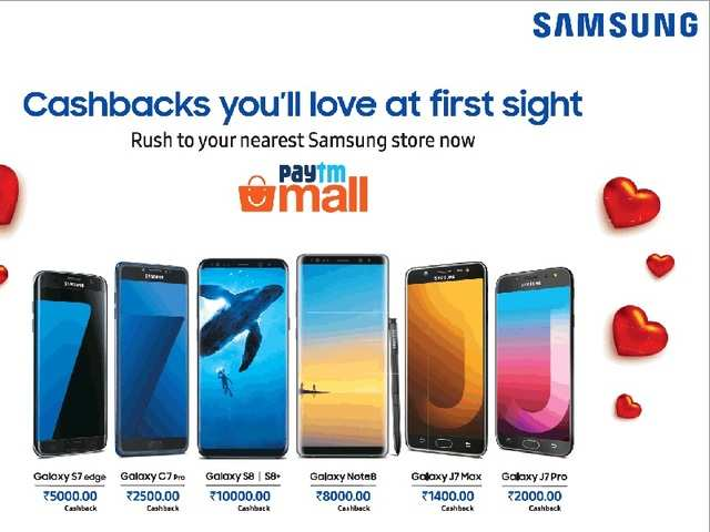 Following in the footsteps of Amazon and Flipkart, Patym Mall, company of Paytm Ecommerce Pvt Ltd, is offering discounts in the form of cashbacks on Samsung smartphones on the occasion of Valentine's Day.