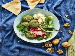 Walnut Falafel and Quick Pickled Radish Buddha Bowl
