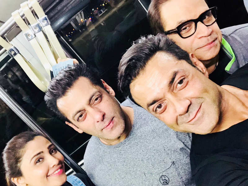 A picture posted by Bobby Deol with Salman Khan, Ramesh Taurani and Daisy Shah.