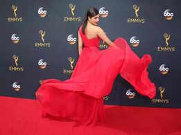 Priyanka Chopra slays in a red pantsuit