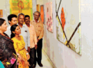 Art connoisseurs enjoy painting exhibition at Shahu Smarak Bhavan