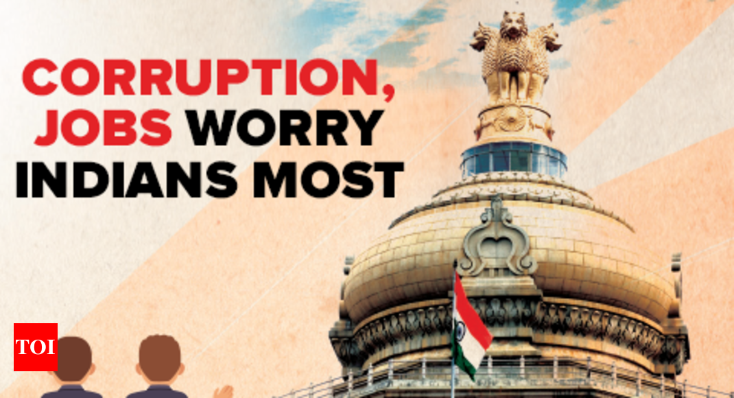 Corruption, jobs worry Indians most - Times of India