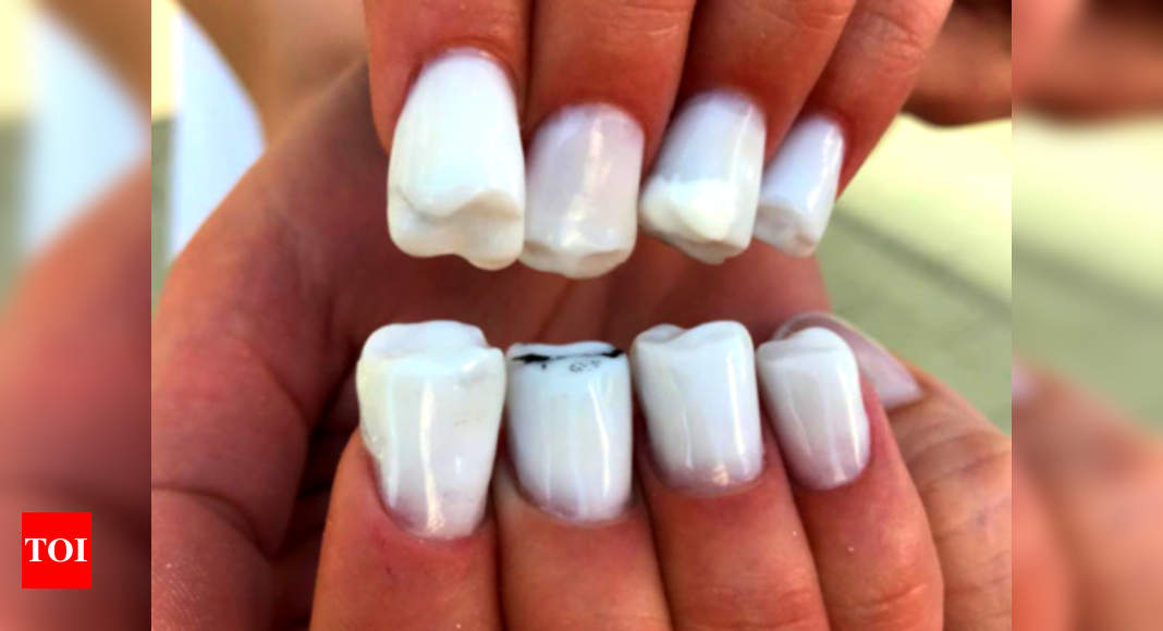 Ouch This Creepy Nail Art Looks Exactly Like Teeth Times Of India