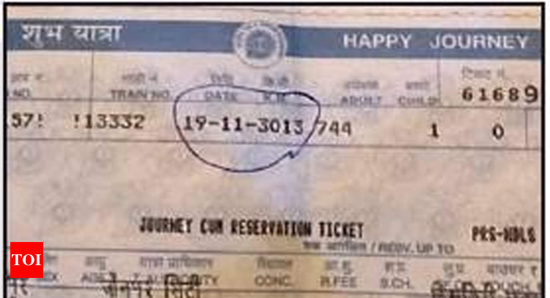 Railways fined for ousting senior citizen who got ticket dated '3013' - Times of India