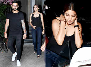 Anushka Sharma and Virat Kohli twin in black