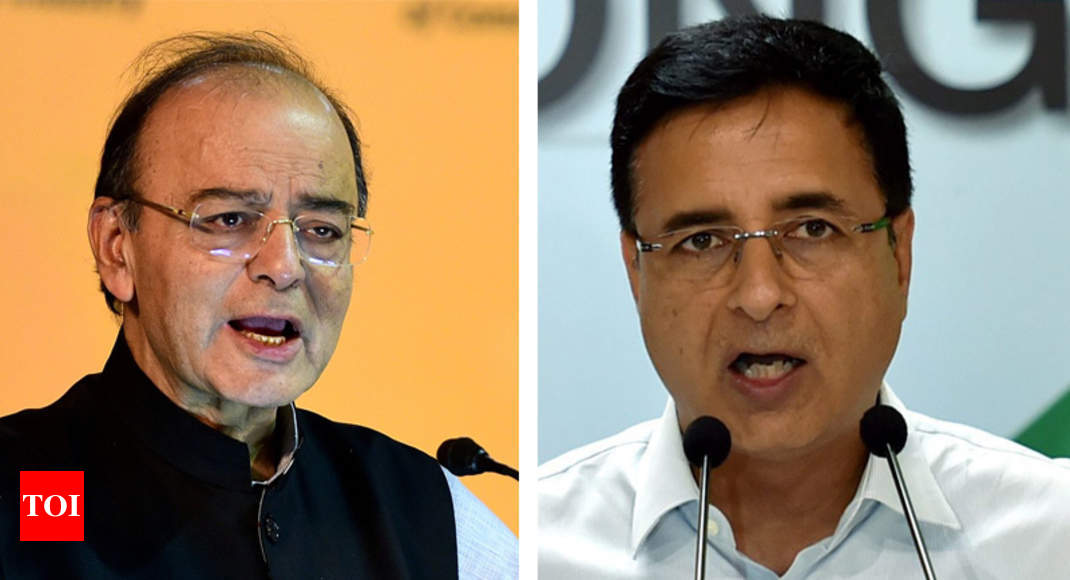 photo - Jaitley, Surjewala in difference after used's attack on Rahul Gandhi - Times of India