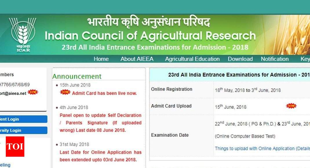 Icar Admit Card Icar Aieea  Admit Card Released Download Here Times Of India
