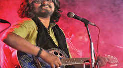 Timir Biswas sings during Abaho music jalsa