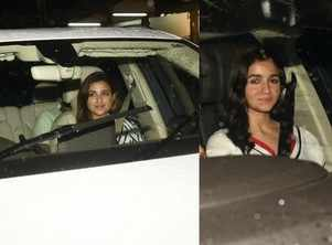 Alia and Parineeti spotted at PeeCee's party