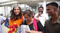 Meenakshi Chaudhary recieves a grand welcome at Chandigarh airport.