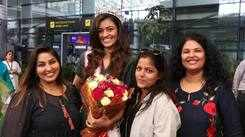 Shreya Rao Kamavarapu arrives at her hometown in Hyderabad