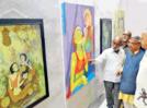 Abdul Bijapure exhibits his artwork at Shahu Smarak Bhavan