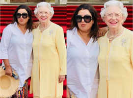 Wow! Farah Khan poses with the Queen