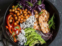 Grilled Chicken and Rice Buddha Bowl with Spicy Chickpeas