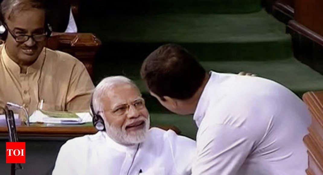no confidence motion rahul gandhi attacks pm modi then proceeds to
