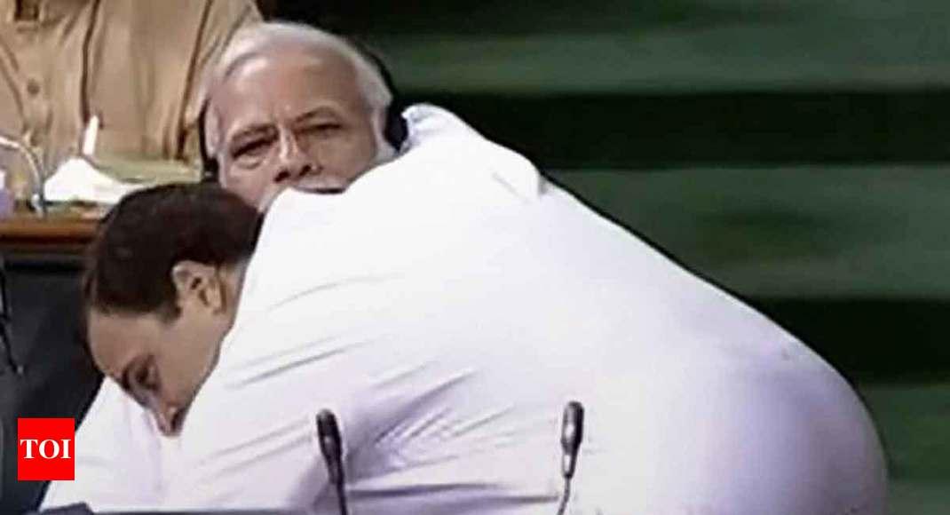 Rahul Gandhi gains confidence, PM Modi gets a hug