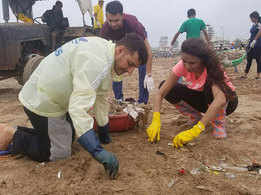 Celebrities got together to clean Versova beach this weekend