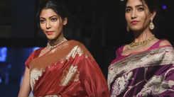 A show of Banarasi weaves at hospitality fair at India Expo Centre in Noida