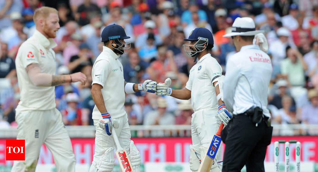 India Vs England Rd Test Virat Kohli Ajinkya Rahane Guide India To   On Day  Cricket News Times Of India