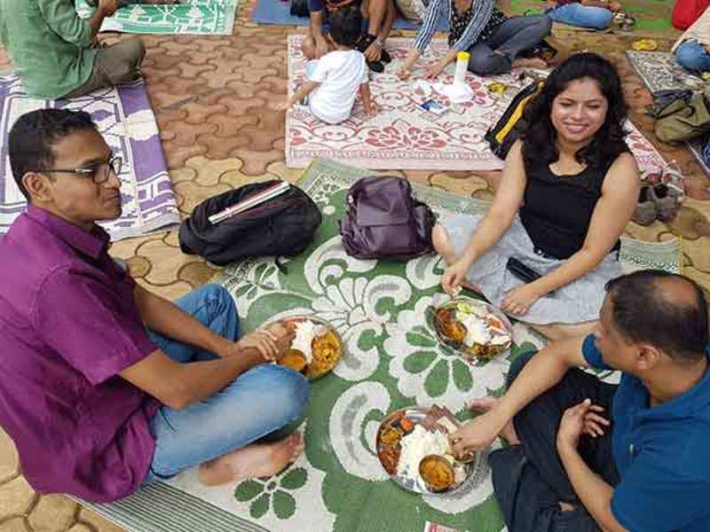 City folks at the sit-down tribal lunch in Aarey