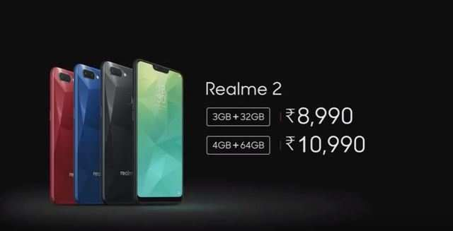 Realme 2 with 4,230mAh battery launched; price starts at Rs 8,990