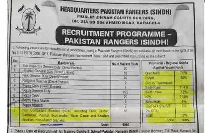 Pak army ad reserves sanitation jobs for 'non-Muslims only