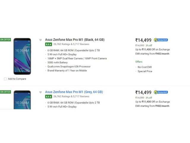Asus Days on Flipkart; discounts on ZenFone Max Pro M1 variants