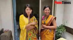Mrumayee and Gautami sharing fun moments during Ganpati Visarjan procession