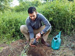 Pullela Gopichand plants saplings at Aravalli Biodiversity Park in Gurgaon