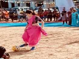 'Monsoon Football': Sagarika Ghatge snapped playing football on the sets of her upcoming film