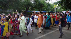 HA college students take part in the rally for the Gujarat University Youth Festival