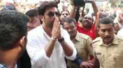 Ranbir Kapoor visits R K Studios for Ganpati Visarjan