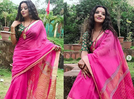Photo: Monalisa looks pretty as a peach in her pink saree