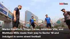 Pro footballers' street football session in Noida