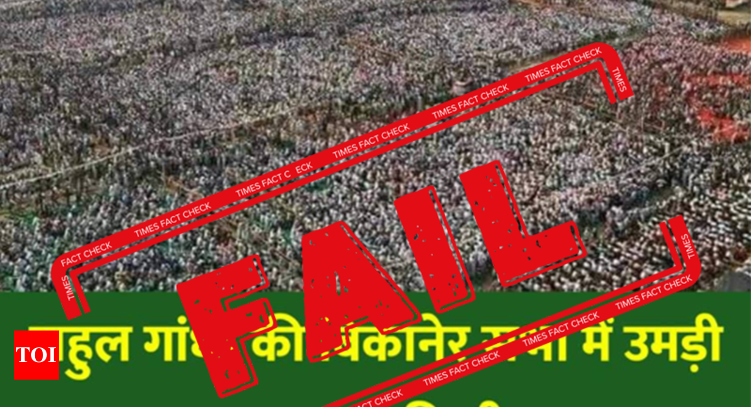 FAKE ALERT: Photo from 2013 Congress rally shared saying 25 lakh people attended Rahul Gandhi's Bikaner rally - Times of India
