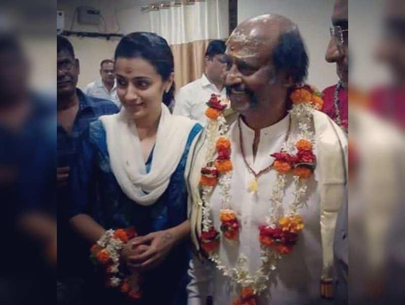 Petta stars  Rajinikanth and Trisha at Kashi Vishwanath temple