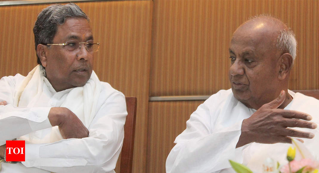 Deve Gowda, Siddaramaiah share stage after 12 years - Times of India