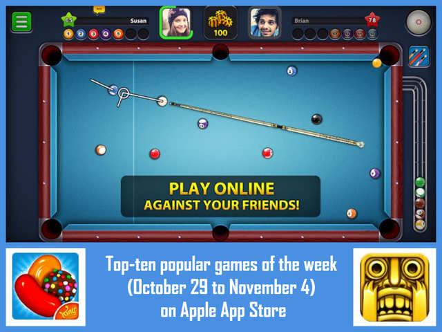 Top-ten popular games of the week (October 29 to November 4) on Apple App Store